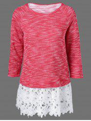 Lace Patchwork Raglan Sleeve Knitted Blouse -