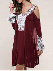 Cold Shoulder Lace Patchwork Smock Dress -