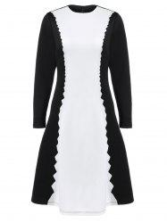 Serrated Graphic Fit and Flare Dress -
