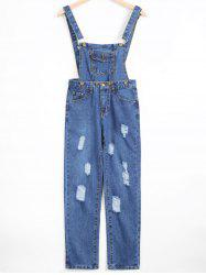 Removable Ripped Denim Overalls -