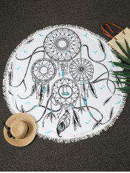 Round Printed Fringe Beach Throw - WHITE