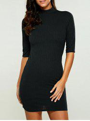 High Neck Bodycon Ribbed Knit T Shirt Dress