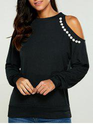 Faux Pearl Cold Shoulder Sweatshirt