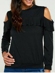 Pullover Cold Shoulder Ruffle Sweatshirt