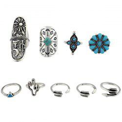 Engraved Sun Moon Triangle Cactus Ring Set - SILVER ONE-SIZE