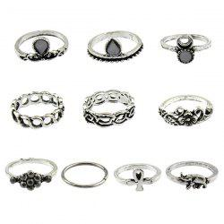 Moon Elephant Water Drop Flower Ring Set - SILVER