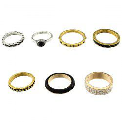 Rhinestone Alloy Engraved Geometric Ring Set - COLORMIX ONE-SIZE