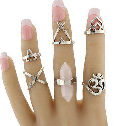 Natural Stone Geometric Heart Finger Ring Set - SILVER