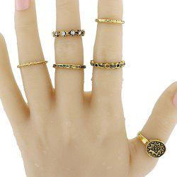 Vintage Rhinestone Geometric Circle Ring Set - GOLDEN ONE-SIZE