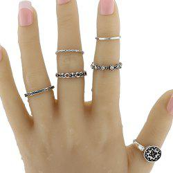 Vintage Rhinestone Geometric Circle Ring Set