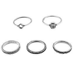Vintage Engraved Alloy Circle Ring Set