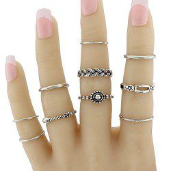 Geometric Braid Circle Jewelry Ring Set - SILVER