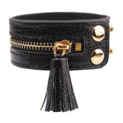 Zip Faux Leather Bracelet - BLACK