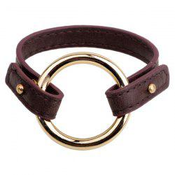 Faux Leather Circle Bracelet - COFFEE