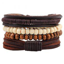 Beaded Layered Faux Leather Bracelets