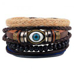 Evil Eye Bead Braided Bracelets - COFFEE