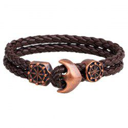 Vintage Anchor Rudder Faux Leather Bracelets - COFFEE