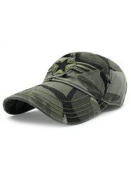 Casual Star Badge Embroidery Army Camouflage Print Baseball Hat -