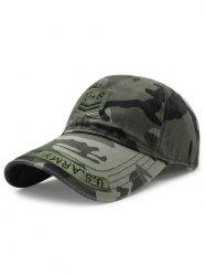 Casual USA Shield Embroidery Camouflage Pattern Baseball Hat - ARMY GREEN
