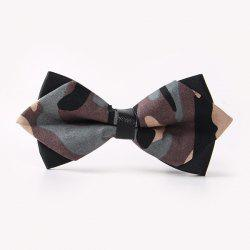 Banquet Camouflage Print Sharp-Angled Double-Deck Bow Tie - GRAY