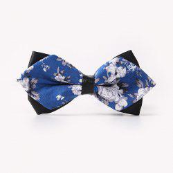 Banquet Flower Leaf Print Sharp-Angled Double-Deck Bow Tie -