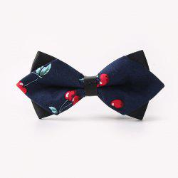 Banquet Cherry Print Sharp-Angled Double-Deck Bow Tie - CADETBLUE