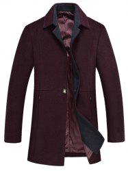 Turn Down Collar Single Button Woolen Blend Coat