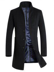 Single-Breasted Woolen Blend Stand Collar Coat - BLACK