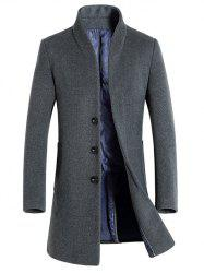 Single-Breasted Woolen Blend Stand Collar Coat -