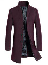 Single-Breasted Woolen Blend Stand Collar Coat - WINE RED