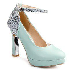 Ankle Strap Chunky Heel Sequin Pumps