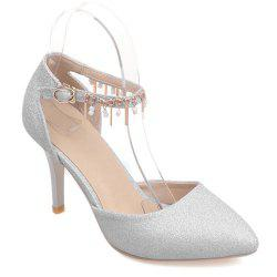 Two-Piece Pendant Sequined Pointed Toe Pumps