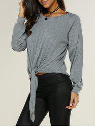 Knot Front Loose-Fitting Sweatshirt -