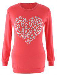 Long Sleeve Heart Pattern Crew Neck Sweatshirt