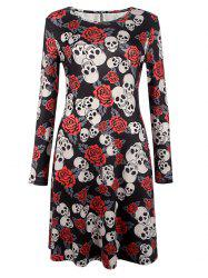 Halloween Skull Print Long Sleeve Dress - BLACK