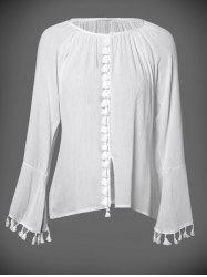 Long Sleeve V Neck Blouse -