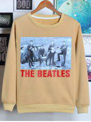 Round Neck The Beatles Print Graphic Vintage Sweatshirts - KHAKI
