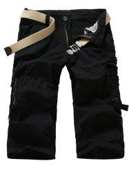 Zipper Fly Multi-Pocket Design Cropped Cargo Pants