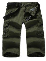 Zipper Fly Multi-Pocket Design Cropped Cargo Pants - ARMY GREEN 36
