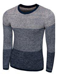 Color Striped Long Sleeve Crew Neck Sweater -