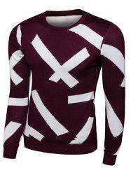 Long Sleeve Cross Pattern Crew Neck Knitwear - RED 2XL