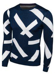 Long Sleeve Cross Pattern Crew Neck Knitwear