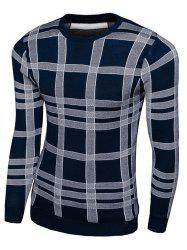 Long Sleeve Plaid Crew Neck Knitwear