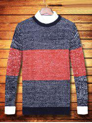 Round Neck Color Striped Ribbed Sweater - ORANGE RED 2XL