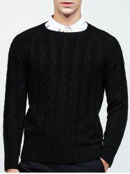 Round Neck Raglan Sleeve Cable-Knit Sweater -