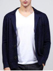 Lapel Long Sleeve Paint Print Cable-Knit Cardigan