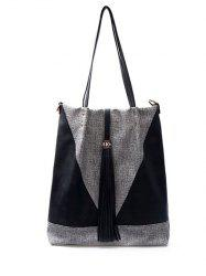 Colour Block Tassels Metal Shoulder Bag -