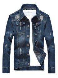 Turn-Down Collar Pockets Design Distressed Denim Jacket