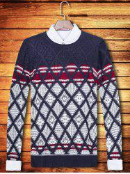 Color Block Argyle Pattern Crew Neck Long Sleeve Sweater