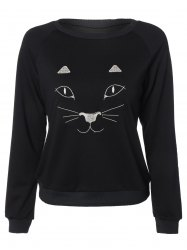 Raglan Sleeve Embroidered Funny Sweatshirt